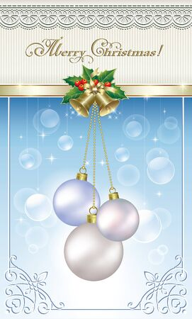 balls decorated: Postcard with Christmas balls decorated with golden ribbon and bells Illustration