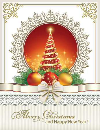 gold bow: Christmas card with fir tree and balls in the ornament Illustration