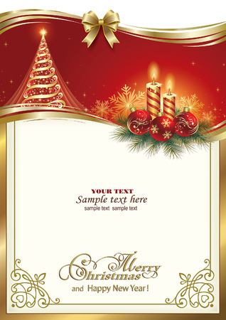 Christmas card with Christmas tree and candles on a red background Çizim