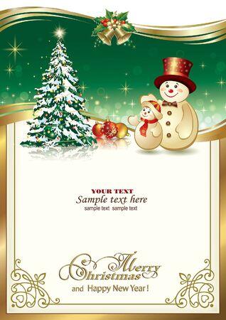 campanas navidad: Feliz A�o Nuevo con el �rbol de navidad y mu�eco de nieve Vectores