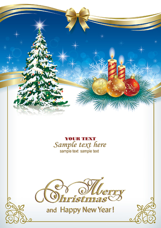 Beautiful christmas card with a Christmas tree and candles