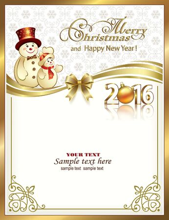 message card: Christmas card with snowmen and snowflakes decorated with golden bow