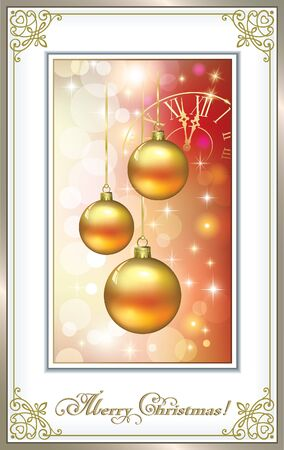 time: Christmas card with Christmas balls on the glowing background with a clock