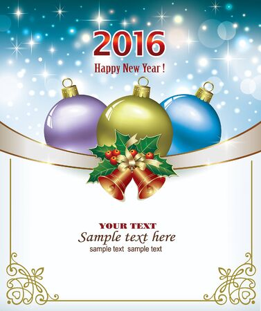 christmas bells: Happy New Year 2016. Christmas background with colorful balls and Christmas bells