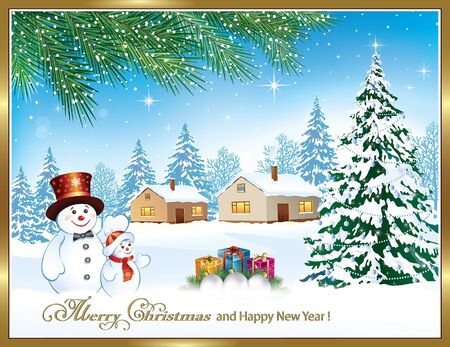 winter tree: Merry Christmas. Winter landscape with the Christmas tree and snowmen