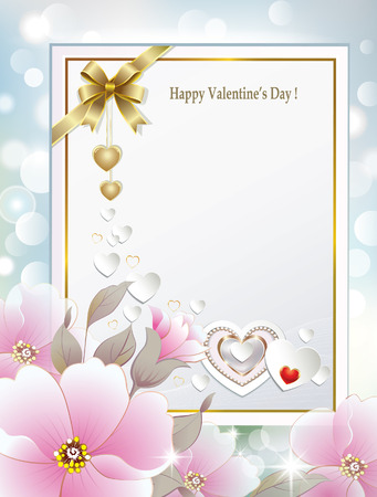 Card for greeting or invitation decorated with flowers and golden bow with hearts