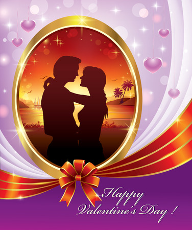 enamored: Valentines Day. Postcard with silhouettes enamored on backdrop of nature in a beautiful design Illustration