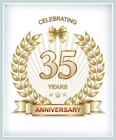 35: 35 anniversary in gold laurel wreath
