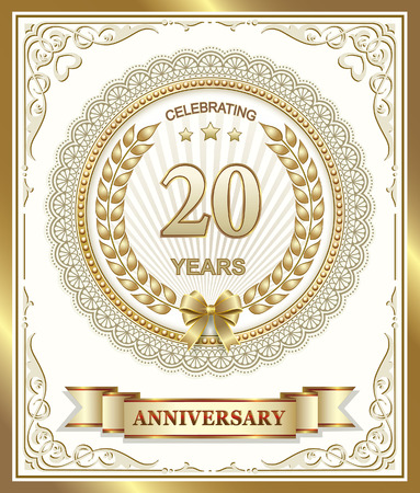 20th: 20th anniversary in gold design Illustration
