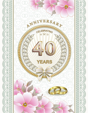 40 years: Postcard to 40 years with rings and flowers Illustration