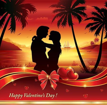 romance: Young couple in silhouette, romance evening in the background of natural landscape Illustration