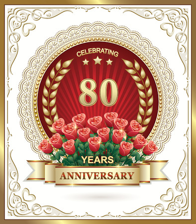 80 anniversary with a bouquet of red roses Vector Illustration