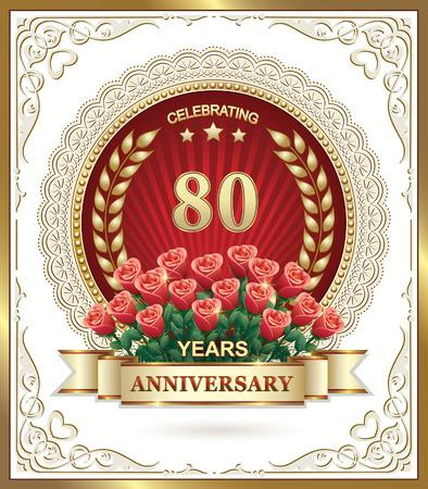 80-lecie z bukietem czerwonych róż Ilustracje wektorowe