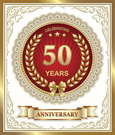 50 years jubilee: Golden Jubilee of 50 years with a laurel wreath in gold frame Illustration