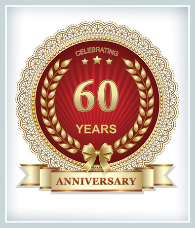 60 years: Happy birthday 60 years in gold laurel wreath on a red background