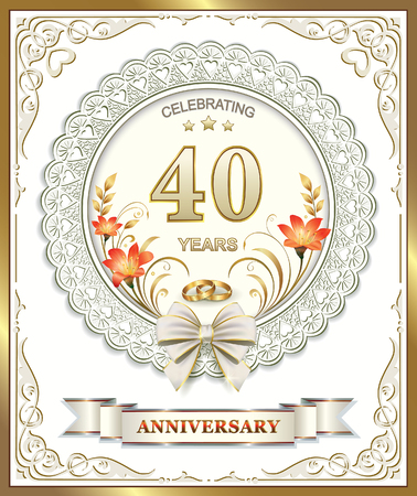 anniversary card: Greeting card for 40 wedding anniversary with lilies and rings Illustration
