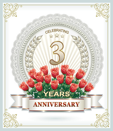 anniversary card: 3 anniversary with a bouquet of roses Illustration