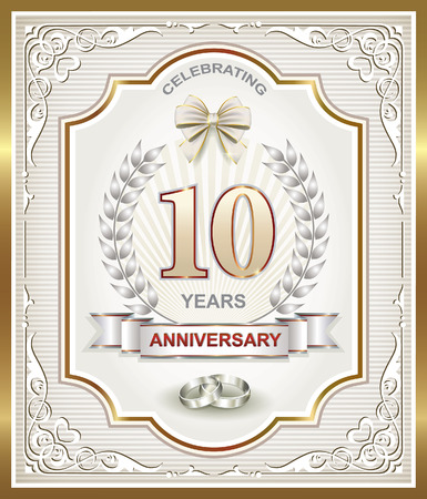 silver wedding anniversary: 10 wedding anniversary in the silver laurel wreath and figural frame Illustration