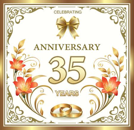 anniversaire 35 de mariage avec des anneaux et des lys