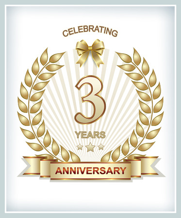 aniversario: 3 aniversario en corona de laurel de oro