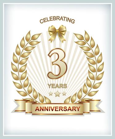 silver ribbon: 3 anniversary in gold laurel wreath Illustration
