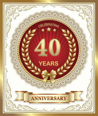 40th: 40th anniversary on a red background in a gold frame