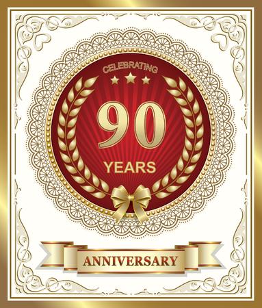 90th: 90th anniversary in gold design
