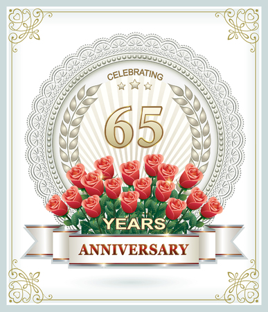 65th: 65th anniversary with a bouquet of red roses