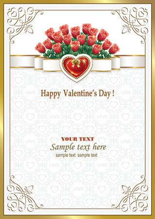 invitation frame: Greeting card with a bouquet of roses and hearts on Valentines Day Illustration