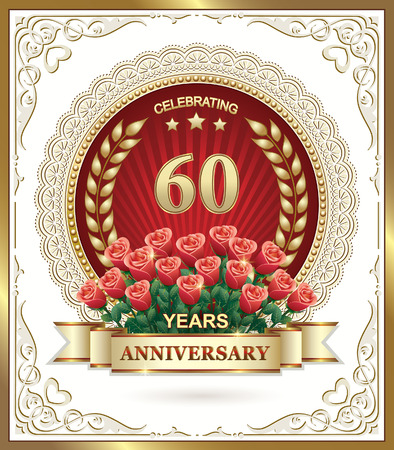 60: 60 birthday card with a bouquet of red roses