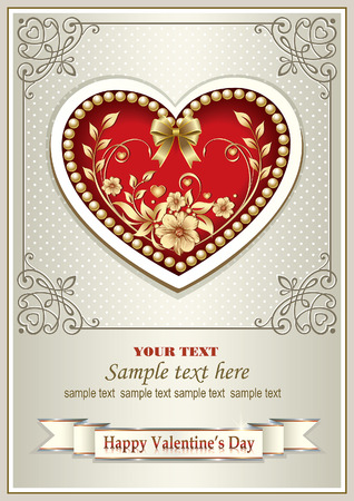 Greeting card for Valentine's Day in a frame with an ornament and heart