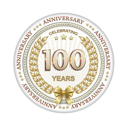 hundred: 100 anniversary in gold laurel wreath Illustration