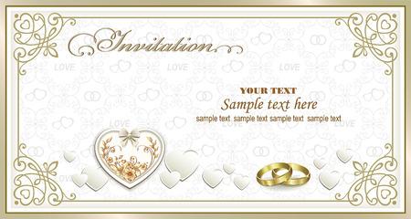 Bruiloft uitnodiging kaart met hartjes en ringen in een frame met een ornament
