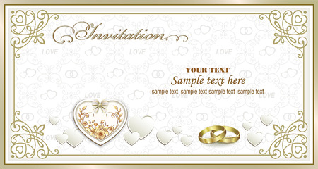 Wedding invitation card with hearts and rings in a frame with an ornament Vectores