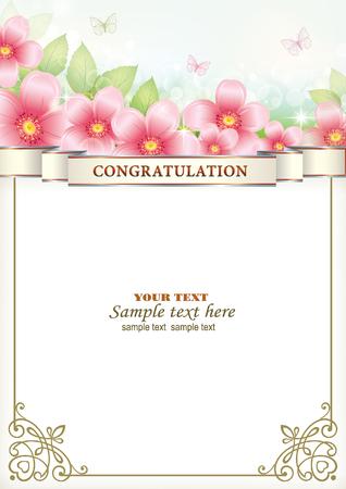 Carte de v?ux avec des fleurs Vecteurs