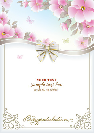 postcard background: Postcard with floral background and decorative bow Illustration