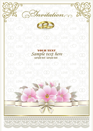 wedding rings: Wedding invitation card with rings and flowers