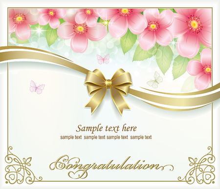 postcard background: Postcard with floral background and gold ribbon with a bow
