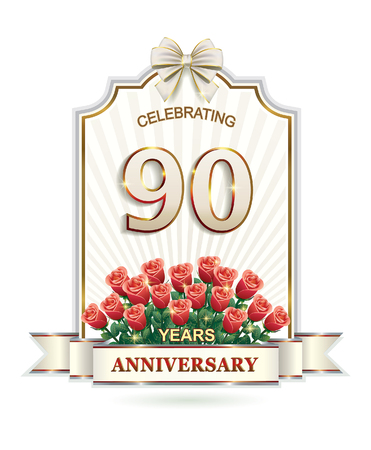 90 years: 90 years with a bouquet of roses Illustration