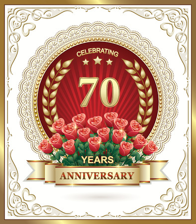 flower age: Birthday with a bouquet of red roses. 70 years anniversary Illustration