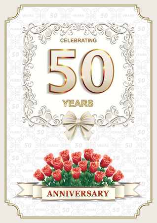 fifty: Golden Jubilee. Postcard for the anniversary of 50 years.