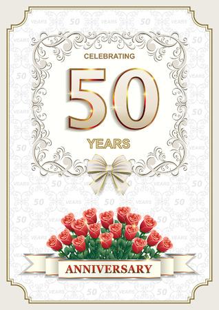 Jubilé d'or. Carte postale pour l'anniversaire de 50 ans. Vecteurs