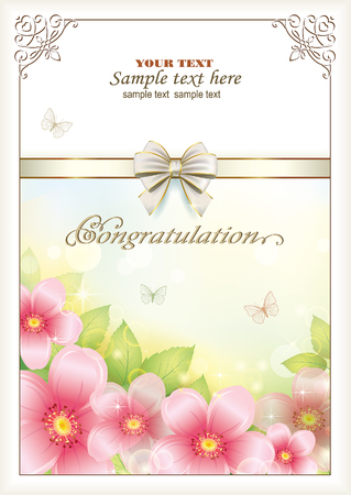 postcard background: Congratulation. Postcard with floral background