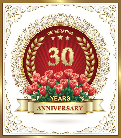 30 years: 30 years Anniversary card with roses