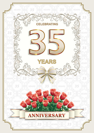 35 years: 35 years Anniversary card with roses