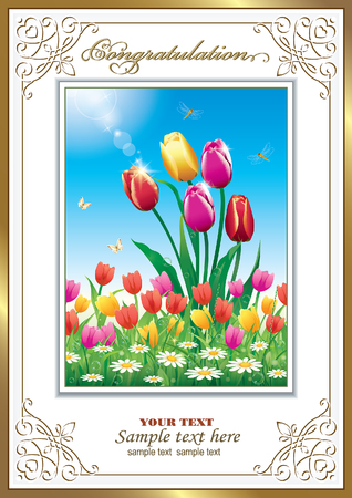 feast day: Greeting card with tulips and daisies on the feast day Illustration