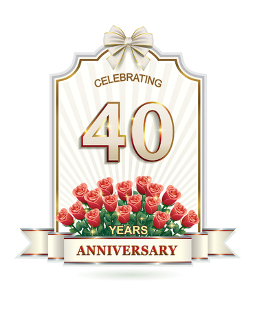 40 years: 40 years Anniversary card with roses