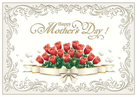 Greeting card for Mother's Day with a bouquet of roses on a background ornament