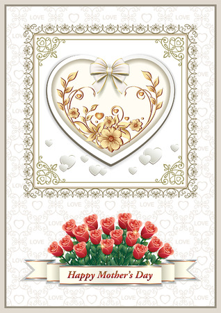 Card for Mother's Day with a big heart and a bouquet of roses