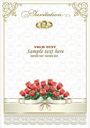 wedding bouquet: Wedding card with rings and roses bouquet